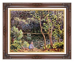 Claude Monet Studio Boat On The Seine River canvas with dark regal wood frame