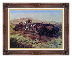 Charles Russell The Buffalo Hunt Wild Meat For Wild Men canvas with dark regal wood frame