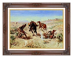 Charles Russell The Cinch Ring canvas with dark regal wood frame