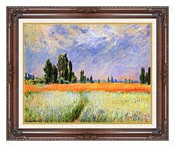 Claude Monet The Wheat Field canvas with dark regal wood frame