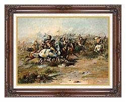Charles Russell The Custer Fight canvas with dark regal wood frame