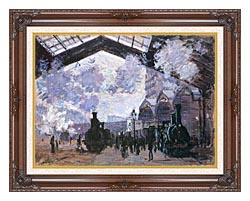 Claude Monet View Of The Normandy Train Line canvas with dark regal wood frame