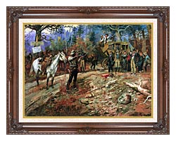 Charles Russell The Hold Up canvas with dark regal wood frame