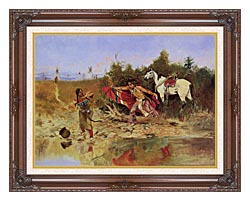 Charles Russell The Marriage Ceremony canvas with dark regal wood frame