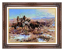 Charles Russell The Wounded Buffalo canvas with dark regal wood frame
