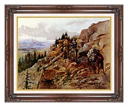 Charles Russell Trouble On The Horizon canvas with dark regal wood frame