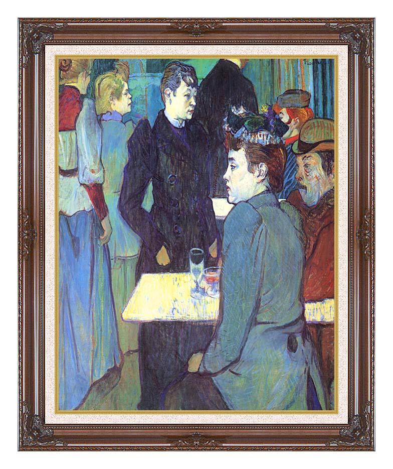 Henri de Toulouse Lautrec A Corner of the Moulin de la Galette with Dark Regal Frame w/Liner