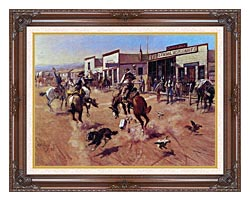 Charles Russell Utica canvas with dark regal wood frame