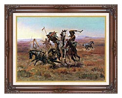Charles Russell When Blackfeet And Sioux Meet canvas with dark regal wood frame