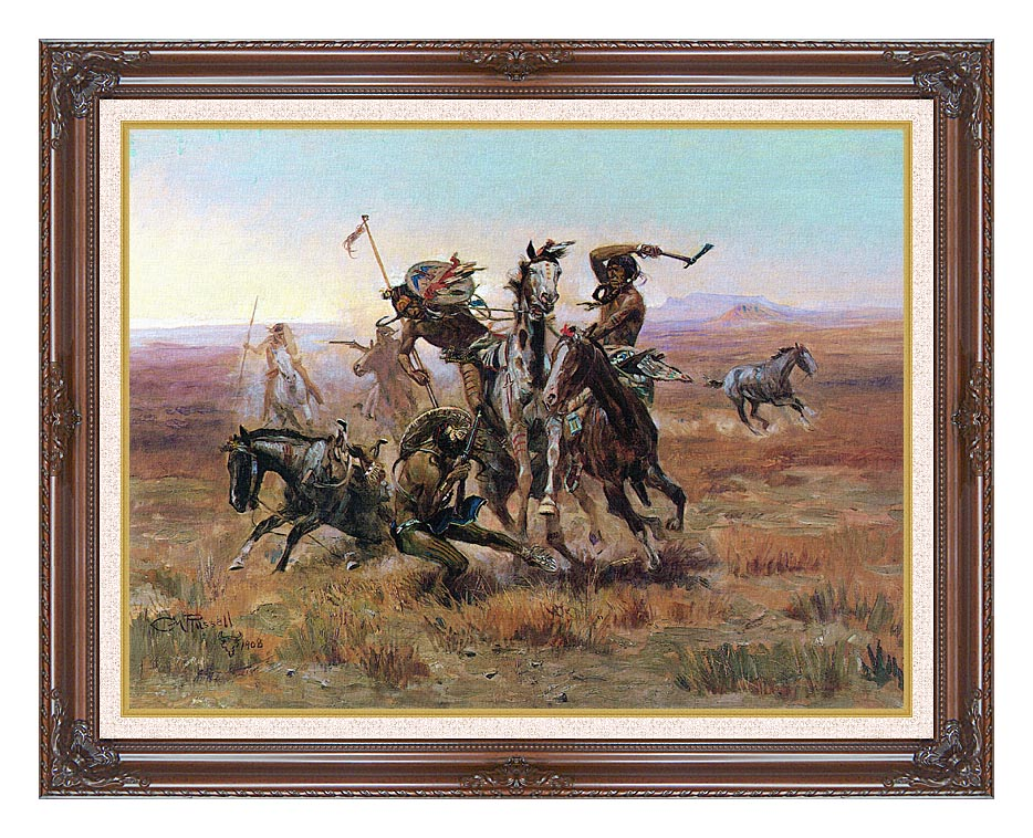 Charles Russell When Blackfeet and Sioux Meet with Dark Regal Frame w/Liner