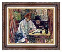 Henri De Toulouse Lautrec A La Mie canvas with dark regal wood frame
