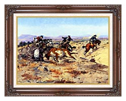 Charles Russell When Cowboys Get In Trouble canvas with dark regal wood frame