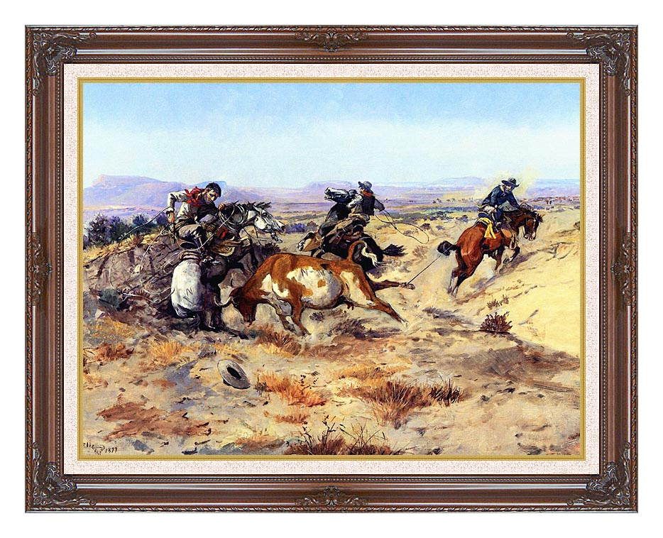 Charles Russell When Cowboys Get in Trouble with Dark Regal Frame w/Liner