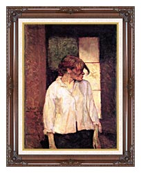 Henri De Toulouse Lautrec A Montrouge   Rosa La Rouge canvas with dark regal wood frame
