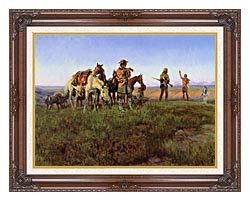 Charles Russell Wildmans Truce canvas with dark regal wood frame