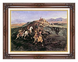 Charles Russell Buffalo Hunt canvas with dark regal wood frame