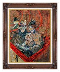 Henri De Toulouse Lautrec La Grande Loge canvas with dark regal wood frame