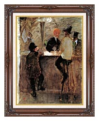Henri De Toulouse Lautrec At The Bar canvas with dark regal wood frame