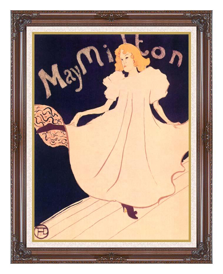 Henri de Toulouse Lautrec May Milton with Dark Regal Frame w/Liner