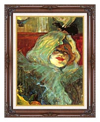 Henri De Toulouse Lautrec At The Rat Mort Detail canvas with dark regal wood frame