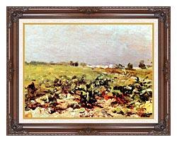 Henri De Toulouse Lautrec Celeyran View Of The Vineyards canvas with dark regal wood frame