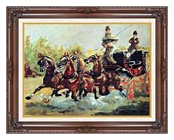 Henri De Toulouse Lautrec Count Alphonse De Toulouse Lautrec Driving His Mail Coach canvas with dark regal wood frame