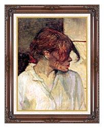 Henri De Toulouse Lautrec Rosa La Rouge Detail canvas with dark regal wood frame