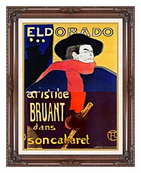 Henri De Toulouse Lautrec Eldorado Aristide Bruant canvas with dark regal wood frame