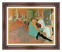 Henri De Toulouse Lautrec In The Salon Of The Rue Des Moulins canvas with dark regal wood frame
