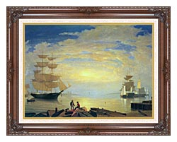 Fitz Hugh Lane Gloucester Harbor At Sunrise canvas with dark regal wood frame