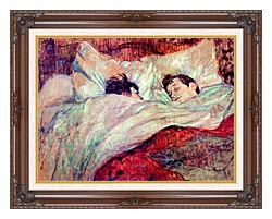 Henri De Toulouse Lautrec The Bed Le Lit canvas with dark regal wood frame
