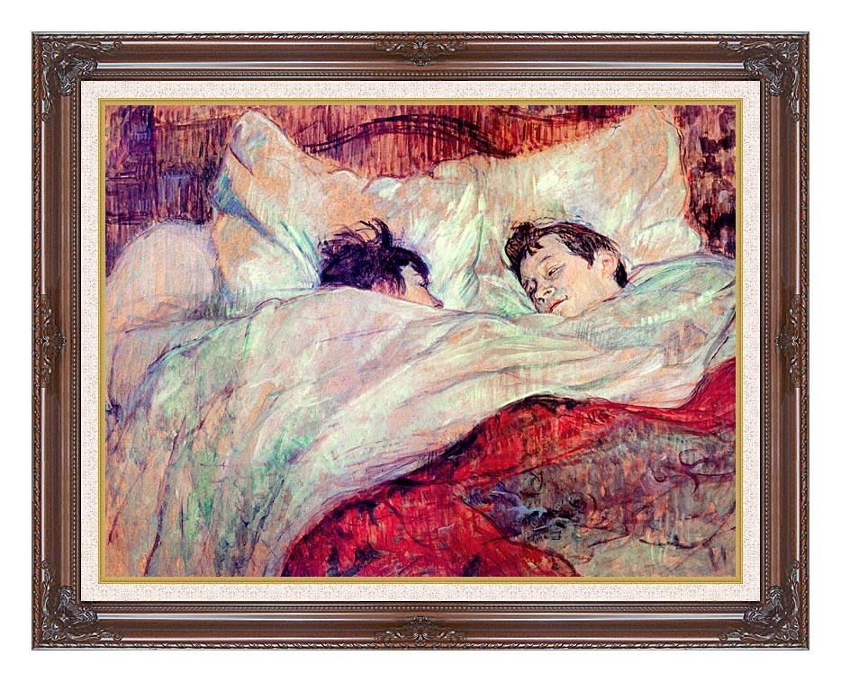 Henri de Toulouse Lautrec The Bed Le Lit with Dark Regal Frame w/Liner