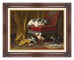 Henriette Ronner Knip Mothers Pride canvas with dark regal wood frame