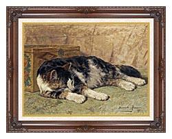Henriette Ronner Knip Cat Nap canvas with dark regal wood frame