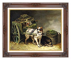Henriette Ronner Knip Pair Of Hunting Dogs canvas with dark regal wood frame