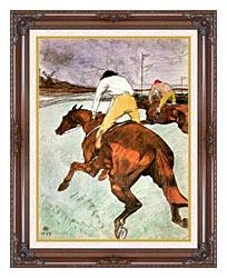 Henri De Toulouse Lautrec The Jockey canvas with dark regal wood frame