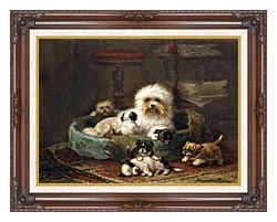 Henriette Ronner Knip Playful Puppies canvas with dark regal wood frame