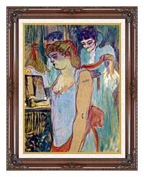 Henri De Toulouse Lautrec The Tattoed Woman Or The Toilette canvas with dark regal wood frame