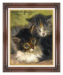 Henriette Ronner Knip Painting Of Two Kittens canvas with dark regal wood frame