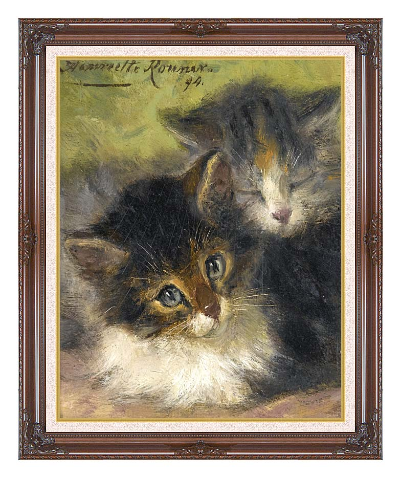 Henriette Ronner Knip Painting of Two Kittens with Dark Regal Frame w/Liner