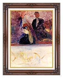 Henri De Toulouse Lautrec Theater Box With The Gilded Mask canvas with dark regal wood frame