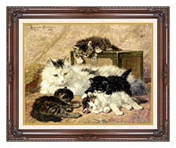 Henriette Ronner Knip Remembrance Of Happy Days canvas with dark regal wood frame