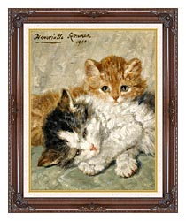 Henriette Ronner Knip Sleepy Kittens canvas with dark regal wood frame