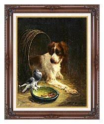 Henriette Ronner Knip Spaniel Defending His Dinner canvas with dark regal wood frame