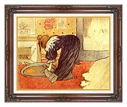 Henri De Toulouse Lautrec Woman At The Tub canvas with dark regal wood frame