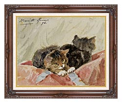 Henriette Ronner Knip The Awakening canvas with dark regal wood frame
