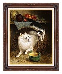 Henriette Ronner Knip The Intruder canvas with dark regal wood frame