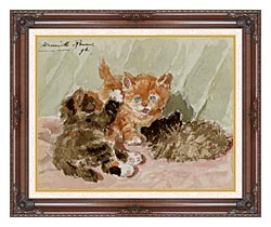 Henriette Ronner Knip The Jester canvas with dark regal wood frame