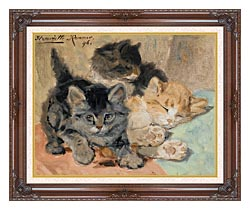 Henriette Ronner Knip Three Kittens canvas with dark regal wood frame