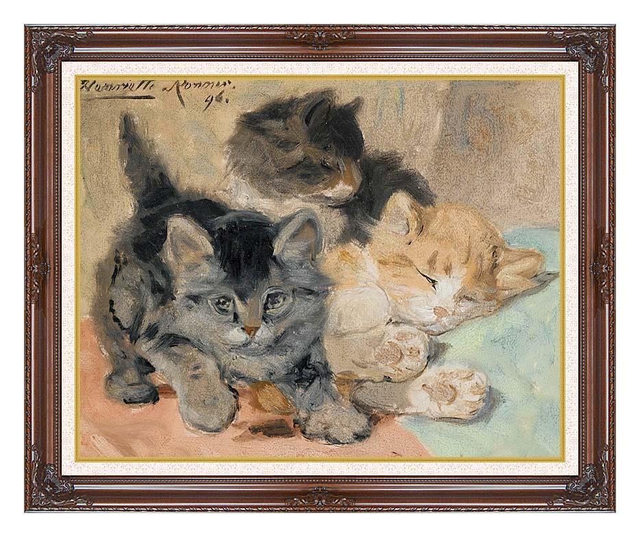 Henriette Ronner Knip Three Kittens with Dark Regal Frame w/Liner